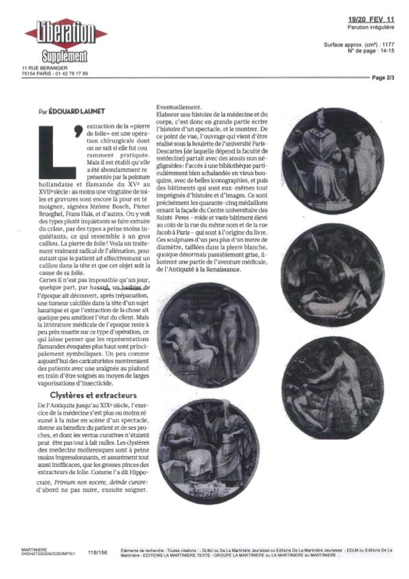 Une histoire de la médecine - Article libé 2